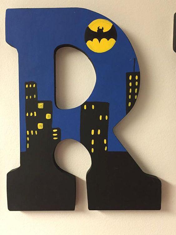 letras decorativas - letra r com tema do batman