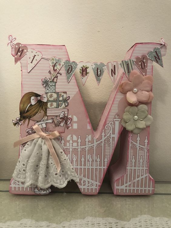 letras decorativas - letra s com boneca