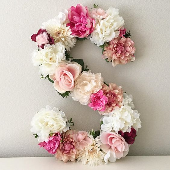 letras decorativas - letra s com flores