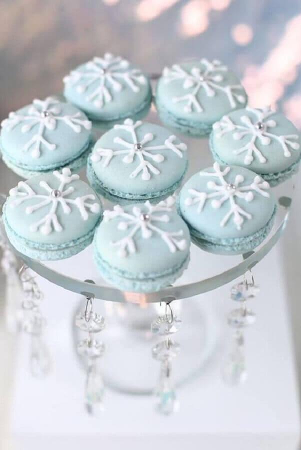 macaron personalizado com flocos de neve para festa de aniversário da frozen Foto A Minha Festinha