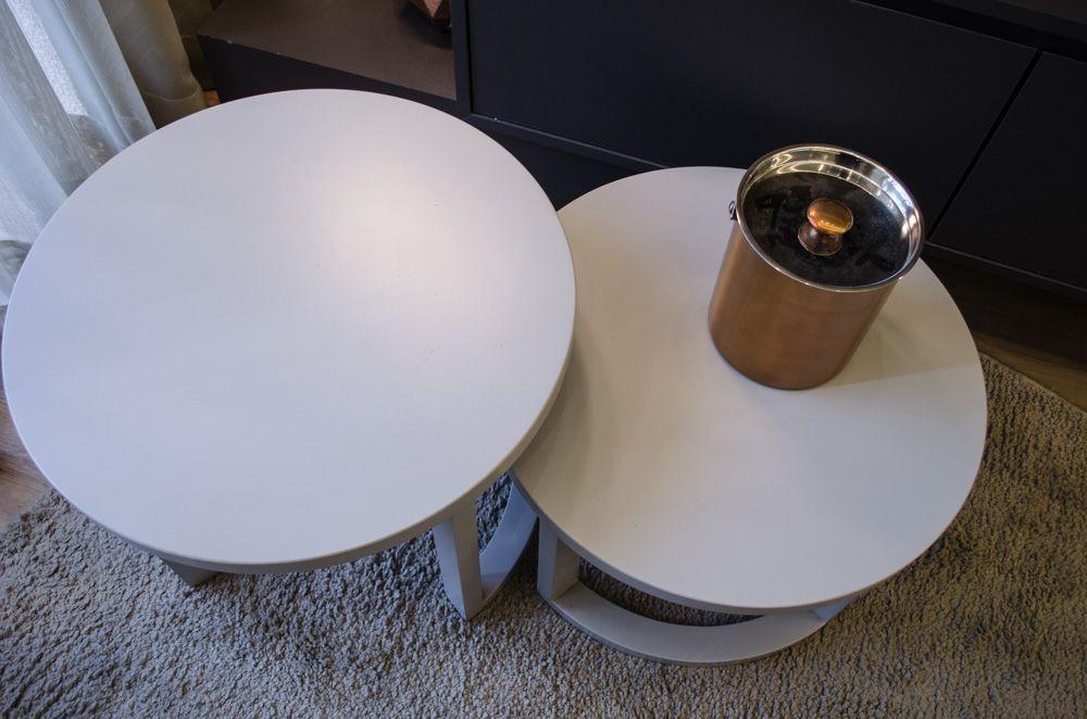 mesa de canto para sala - mesa de canto redonda dupla