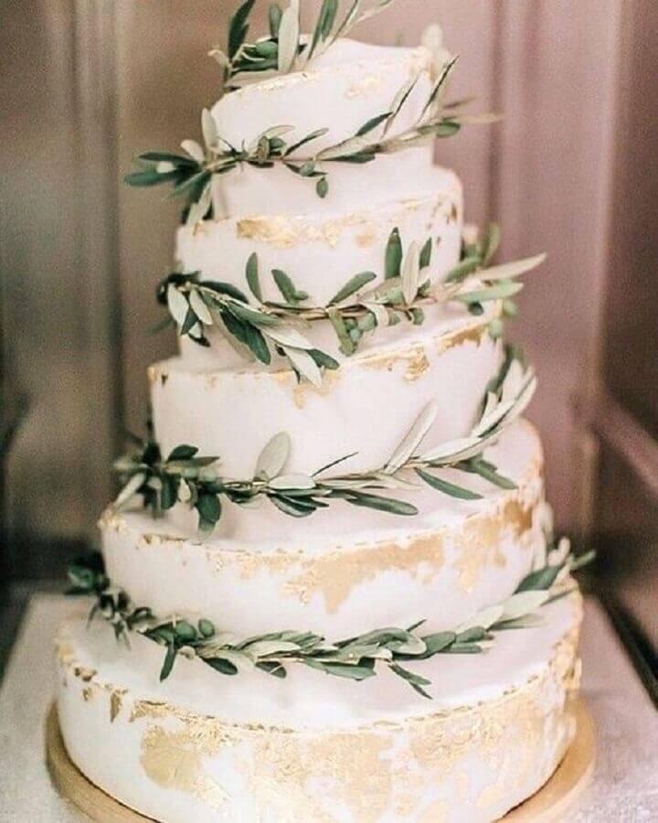 modelo de bolo de casamento decorado com folhas Foto Pinterest