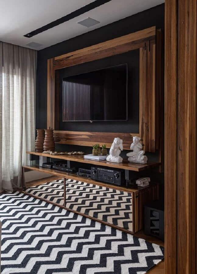 modelo de rack de madeira com porta espelhada Foto Casa de Valentina