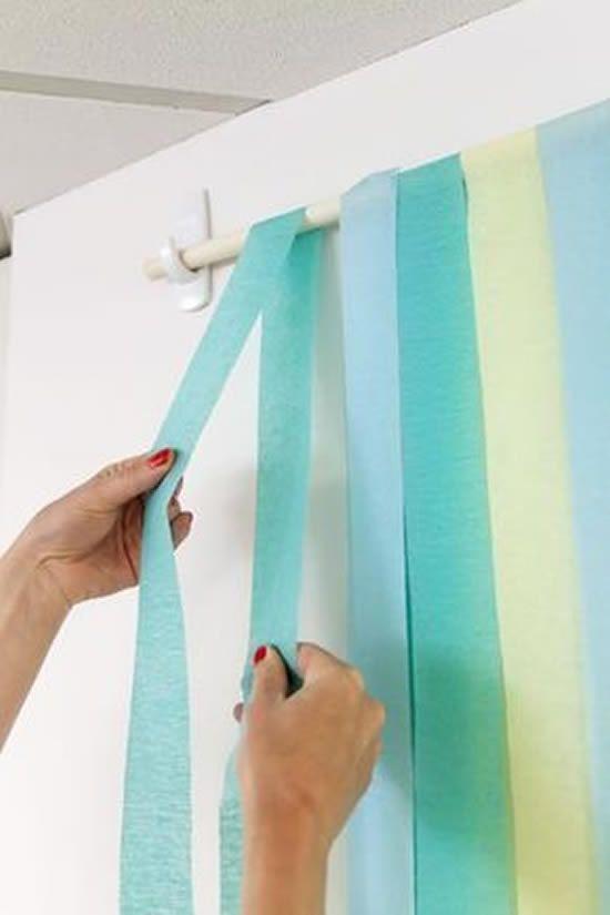 cortina de papel crepom em casa