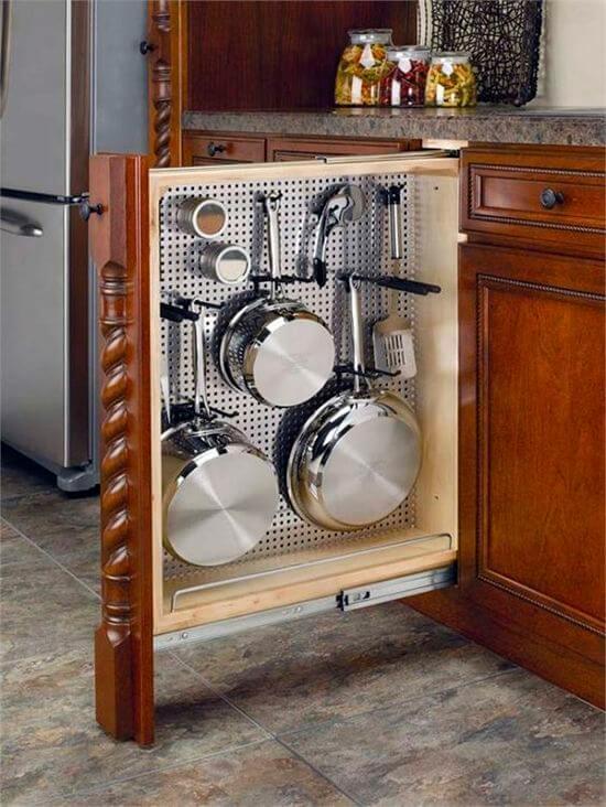 organizadores de cozinha - armário com gaveta vertical para panelas