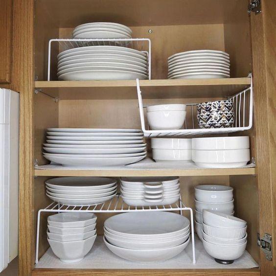 organizadores de cozinha - armário de louças organizado