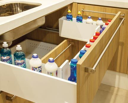 organizadores de cozinha - gaveta para detergentes