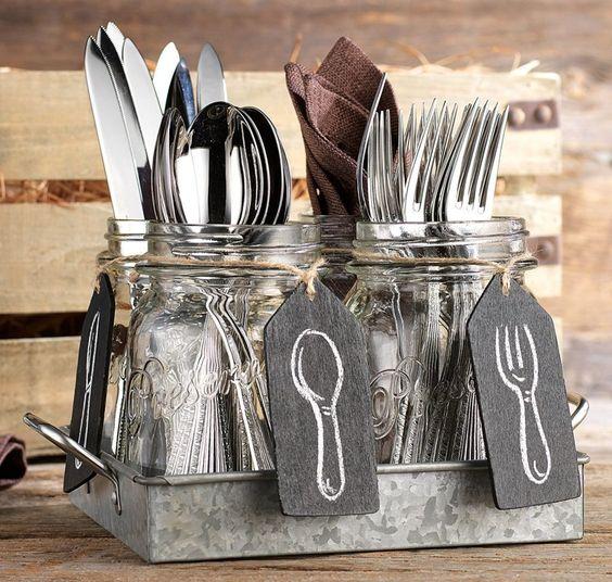 organizadores de cozinha - potes de vidro para talheres