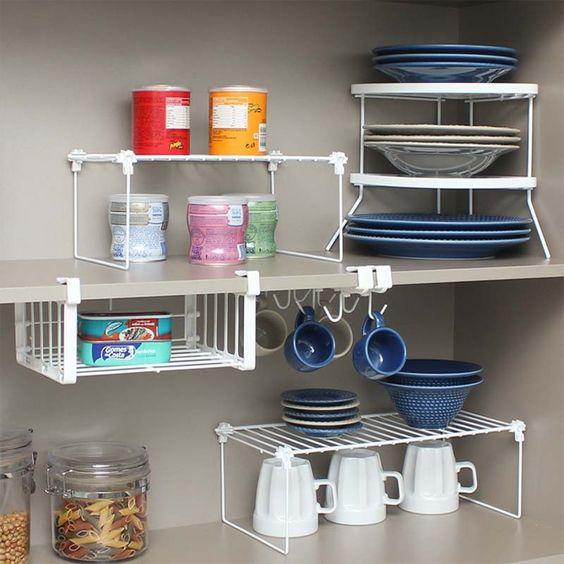 organizadores de cozinha - prateleiras para armário de cozinha