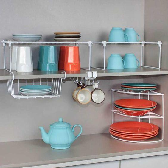 organizadores de cozinha - suportes para copos e pratos