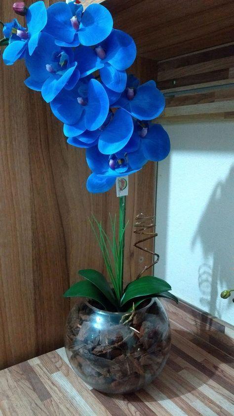 orquídea azul - orquídea azul de silicone em vaso de vidro