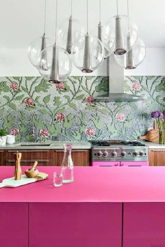 papel de parede floral para cozinha cor de rosa Foto Ideias Decor