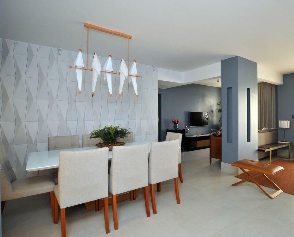 parede 3d - parede com revestimento 3d e pendente origami