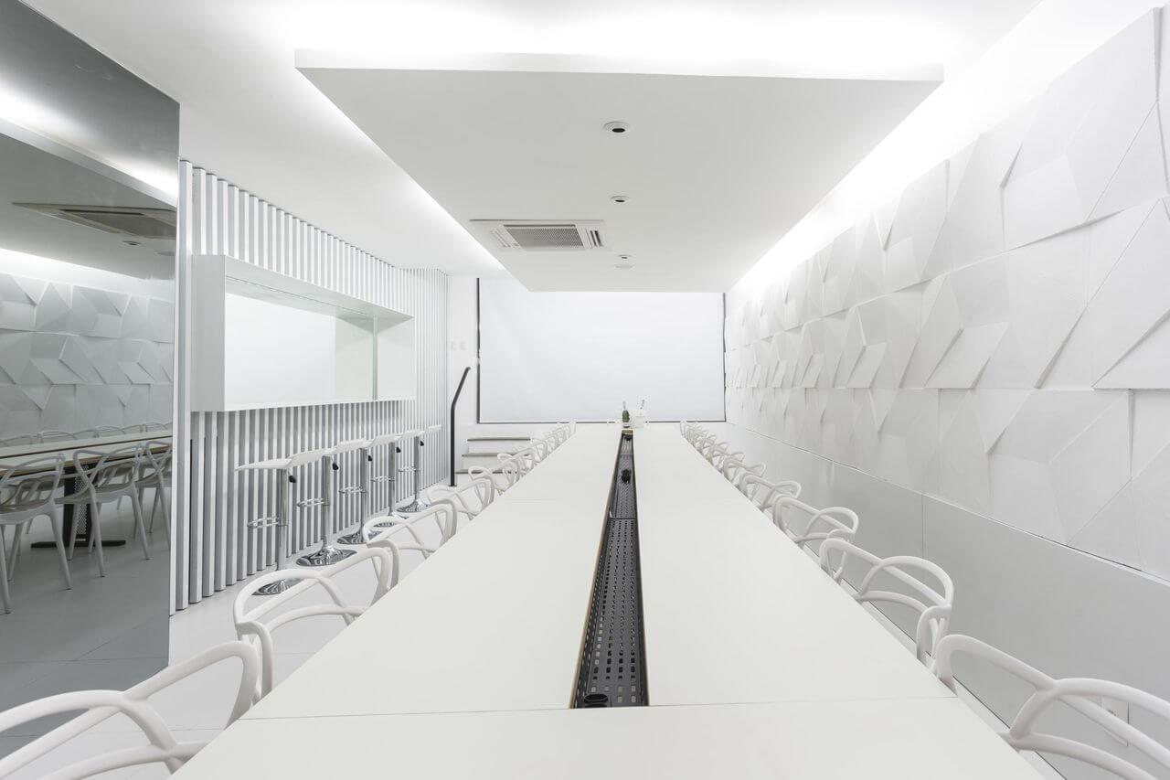 parede 3d - parede com revestimento branco 3d