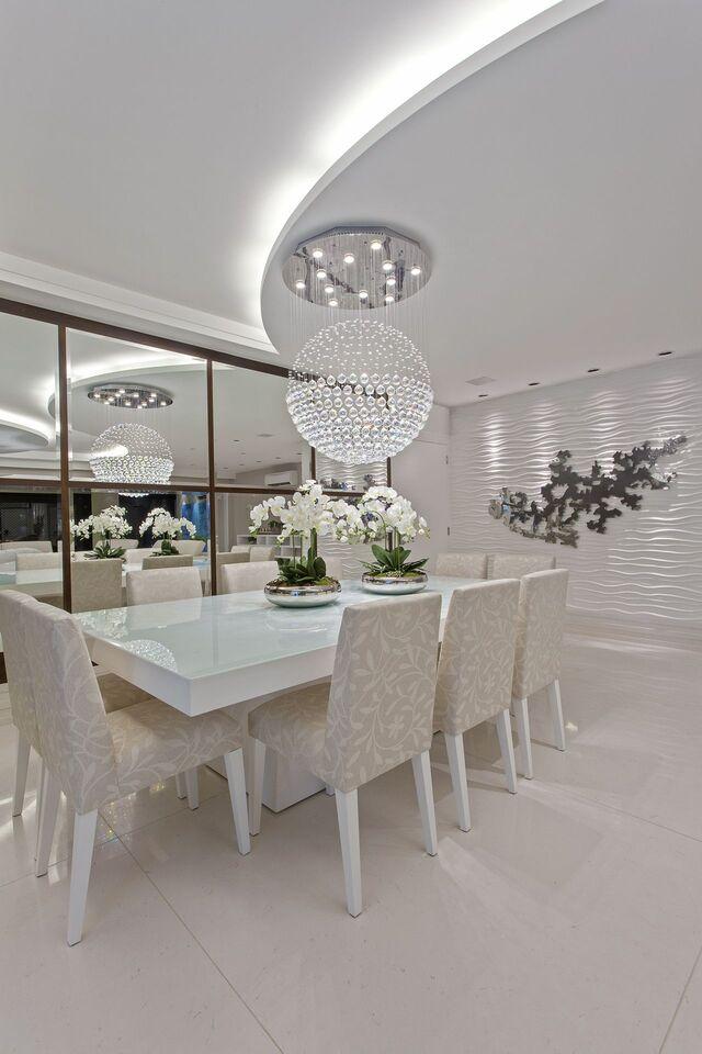 parede 3d - sala de jantar com parede texturizada