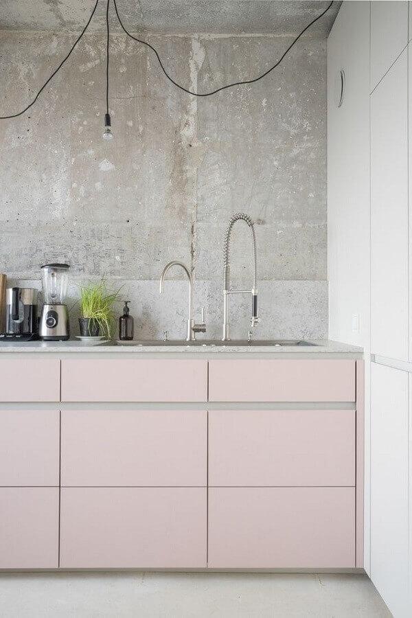 parede de cimento queimado para cozinha cor de rosa Foto Pinterest