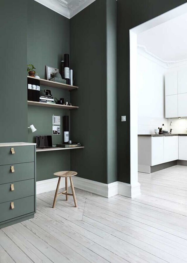 parede verde musgo para home office Foto The Home Issue