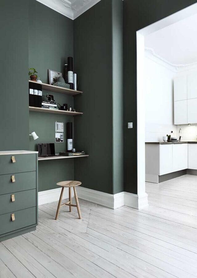 parede verde musgo para home office Foto The Home Issue