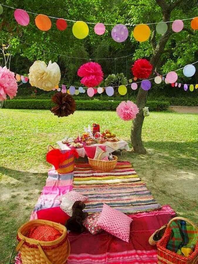 picnic com decoração colorida Foto Tottori Mama's