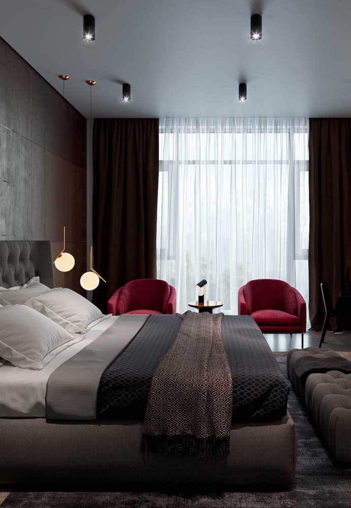 poltrona vermelha para decoração de quarto cinza moderno Foto Home Fashion Trend
