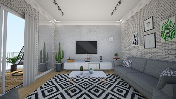 Projeto de sala de estar com sofá cinza e tapete geométrico preto e branco