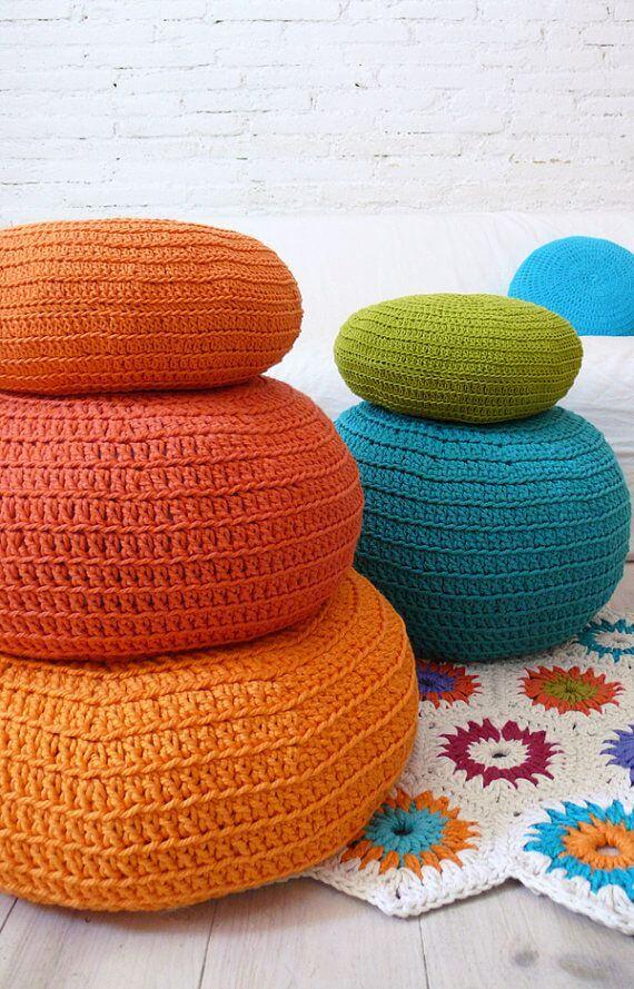 como fazer puff de crochê
