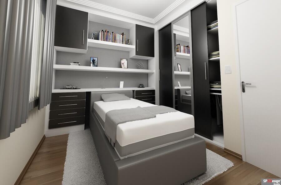quarto masculino preto e cinza com cama box bau solteiro Foto SP 3Design Studio