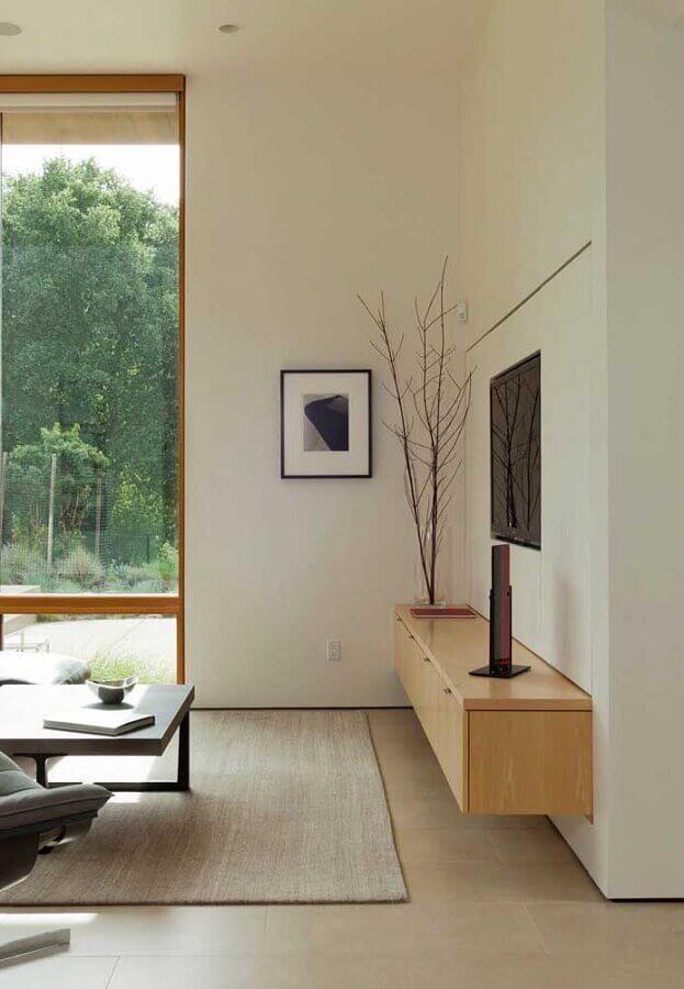 rack de madeira moderno para sala com parede de vidro Foto Ideias Decor