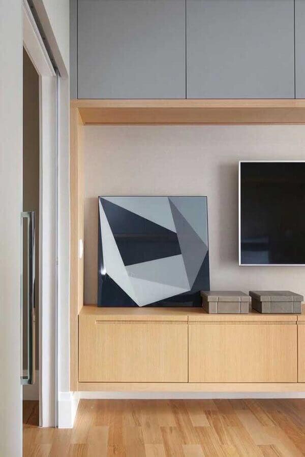 rack de madeira moderno para sala planejada Foto Pinosy