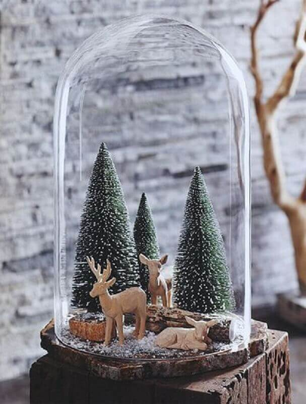 bubble for Christmas decoration with mini pine and wooden reindeer Photo Nova68