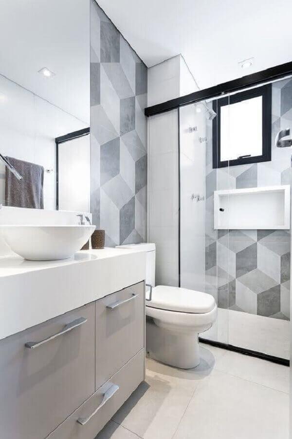 revestimento para banheiro cinza e branco Foto Casa de Valentina