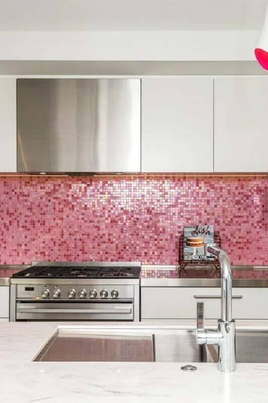revestimento para cozinha rosa e branca Foto Pinterest
