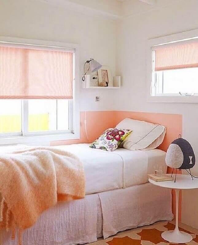 saia para cama box solteiro para quarto de menina decorado em branco e coral Foto Dicas Decor
