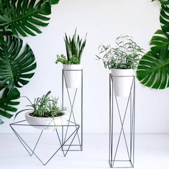 Suporte de ferro para plantas para decorar a casa moderna