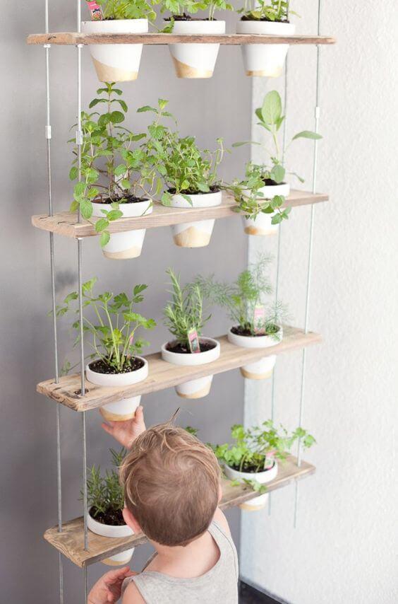 Suporte para planta suspenso com horta em casa