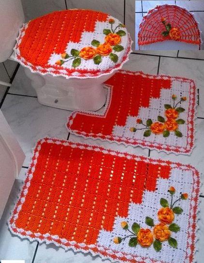 tapete colorido - tapete dual color laranja e branco