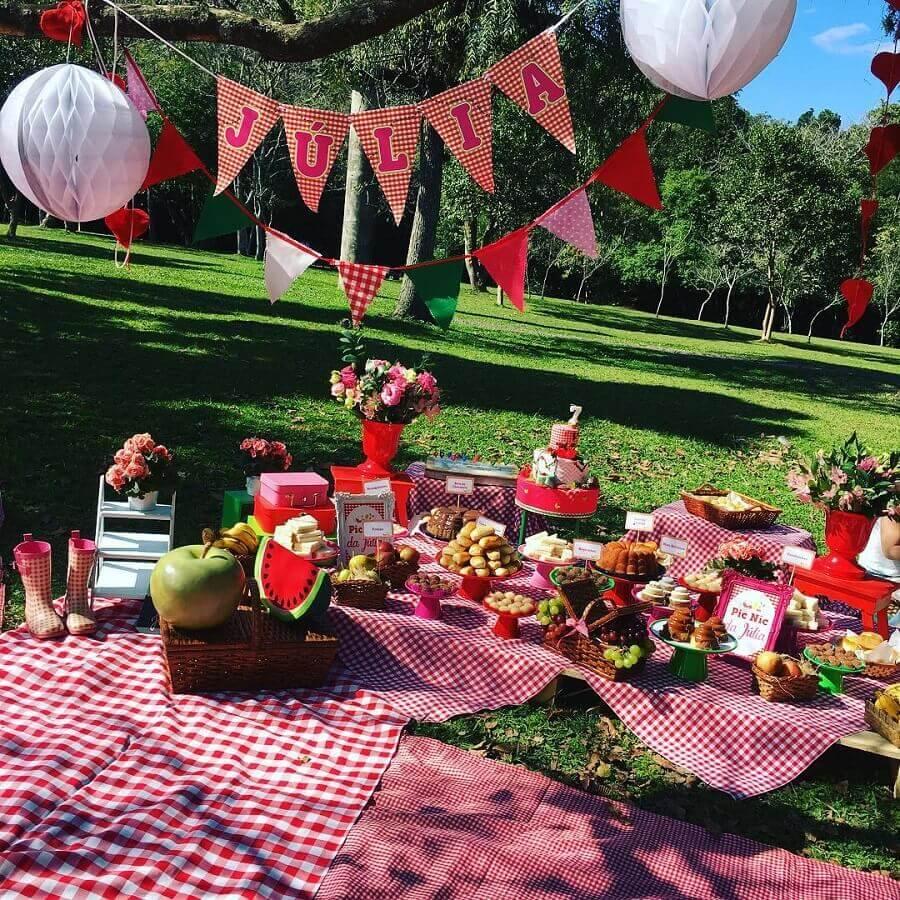 toalha xadrez e varal de bandeirinhas para aniversário piquenique Foto Ama Eventos