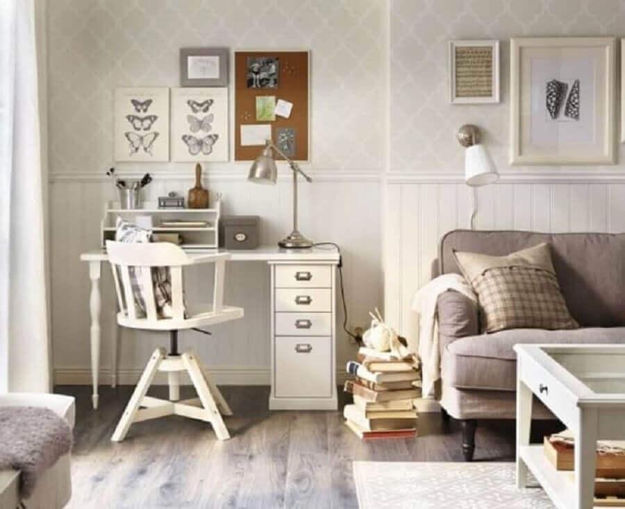 tons neutros para decoração de sala com cadeira giratória branca Foto Tokopedia