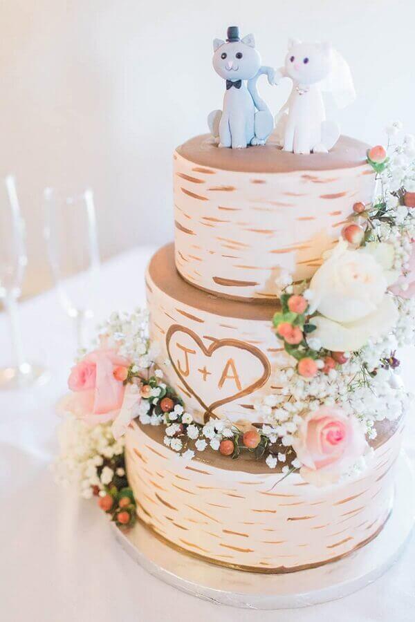 topo de bolo de casamento em formato de gatinho Foto eNoivado