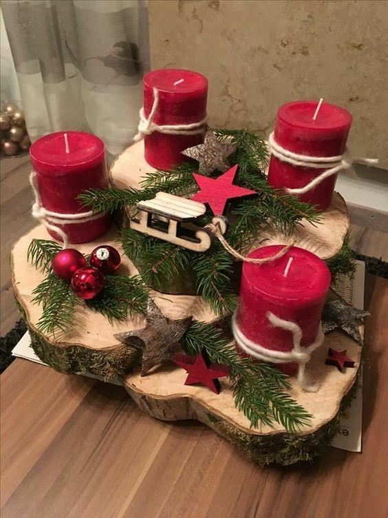 velas de natal - altar com velas vermelhas