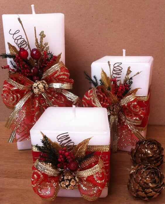 velas de natal - conjunto de velas quadradas
