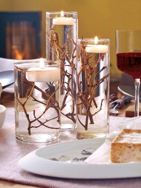 velas de natal - copo com galhos e velas
