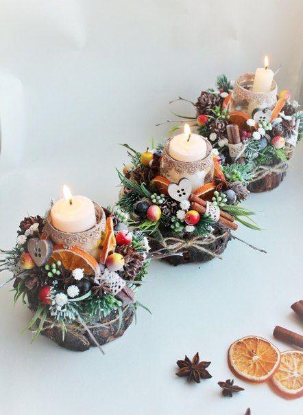 velas de natal - fila de velas decoradas