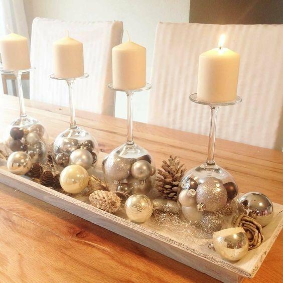 velas de natal - mesa com velas simples