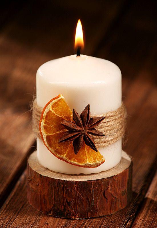 velas de natal - vela com frutas secas
