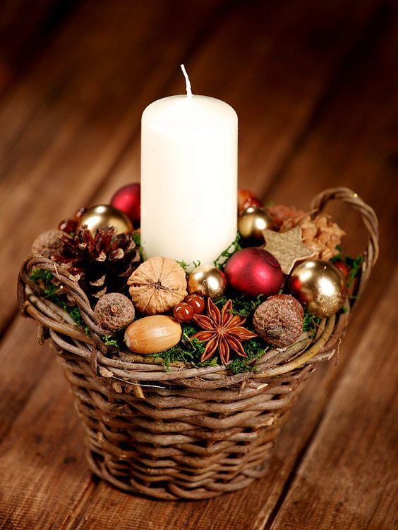 velas de natal - vela em cesta de natal