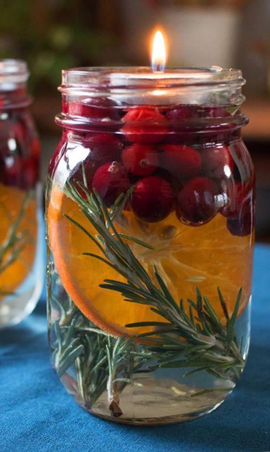 velas de natal - vela em copo com frutas