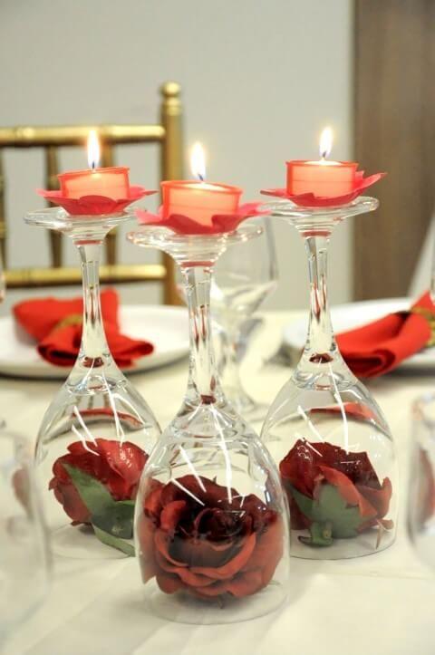 velas de natal - vela em taças