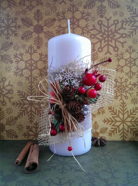 velas de natal - vela grande com decoração