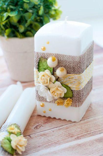 velas de natal - vela quadrada com flores
